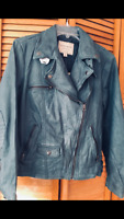 Lucky Brand Women's   100%Soft Leather Moto Jacket LARGE BLUE RARE  !!!  NEW