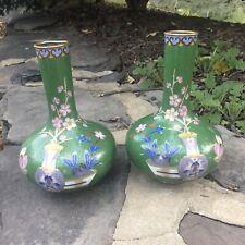 Pair Vintage Chinese Enamel Copper Cloisonne Green Floral Vases
