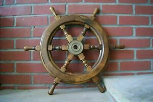 Captain Wooden Ship Wheel Decor 18 Inch Maritime Pirate Ships Boat Steering Wood