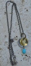 """Silpada Sterling Silver Turquoise Brass Pendant Necklace 16.5-18.5"""" N1853"""