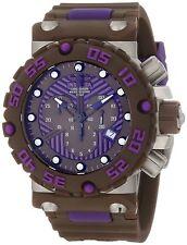 Mens Invicta 10044 Subaqua Nitro Diver Chronograph Brown Purple Dial Brown Watch
