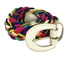Vintage Braided Nylon Multicolor Rope Belt Size XL Made in Taiwan White Buckle