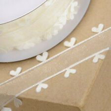 RIBBON IVORY ORGANZA WITH HEART EDGING 25mm x 25M CRAFTS CAKE WEDDING FLOWERS