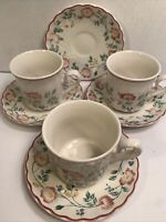 CHURCHILL ''BRIAR ROSE'' 3 CUPS  AND 4 SAUCERS MADE IN STAFFORDSHIRE ENGLAND