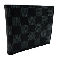 Mens Damier Check Designer Wallet Black Grey Faux Leather ID Card Cash Zip 202