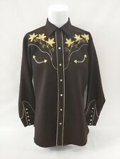 H Bar C California Ranchwear Brown Embroidered Leaves Western Rodeo Shirt XL