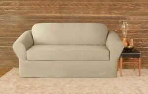 Sure Fit Twill Supreme 2 Piece LOVESEAT Slipcover flax beige washable