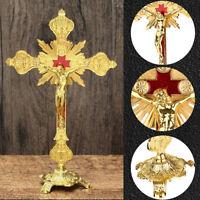Jesus Antique Gold Cross INRI Catholic Altar Standing Religious Crucifix Stand