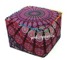 "18"" Indian Peacock Mandala Square Ottoman Pouf Cover Footstool Home Decor Seat"