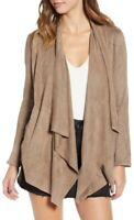 Blank NYC Taupe Brown Faux Suede Draped Open Front Blazer Jacket Size L $98