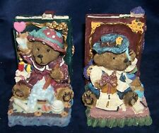 Adorable Detailed Vintage Boy and Girl Teddy Bear Resin Bookends