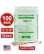 Tamper Evident Bank Deposit Bags, 12 x 16 White (Opaque), Serialized, 100 Bags