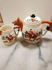 More details for fox & hounds teapot & milk jug portland pottery  corbridge england