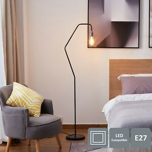 Modern Floor Lamp with On/Off Switch and Plug, Black and Matte Silver Finish