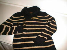 RALPH LAUREN Black and Metallic Gold Link Cotton Sweater -S M