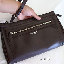 NWT COACH Midnight Oak Large Clutch/Wristlet Leather TRAVEL KIT Purse NEW-BROWN