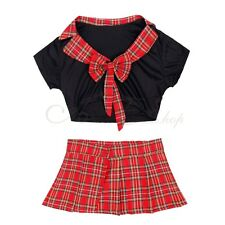 2pcs Girls High School Cheerleader Costume Red White Kids Fancy Dress Outfit NEW