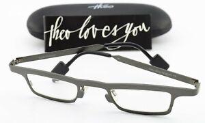 THEO BELGIUM Brille Igloo 35 Pure Titanium Designer Cool Frame M Dark Gray Mat