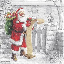 2 Serviettes en papier Père Noël Liste Decoupage Paper Napkins Wish List