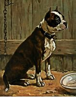 Terrier Seated by Frances B. Townsend. Dog Art Repro choose Canvas or Paper
