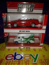 2 PC LOT Denver Diecast Camper Green & White RED SPORTS CAR 1/64, 1:64 , 164