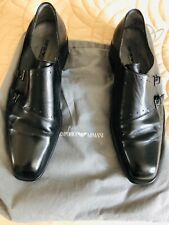 Emporio Armani Double Monk Strap Black Shoes