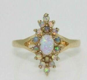 9ct Yellow Gold Marquise Opal Cluster Ring Size N, US 6 3/4