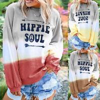 Women Long Sleeve Gradient Sweatershirt Shirt Tops Ladies Loose Blouse Pullover