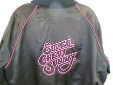 VINTAGE SUPER CHEVY SUNDAY BLACK PINK SATIN JACKET COAT CLASSIC WINNER 86 LARGE