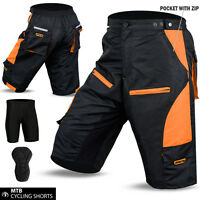 Cycling MTB Short Off Road Cycle Coolmax Padded Liner Shorts Orange