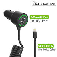 Certified Fast 4.4 Amp 2 Port Lightning Cable Car Charger for Apple iPhone iPad