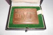 Kupfer Plakette 2. Sachsenschau Karl-Marx-Stadt 1959 mit Etui Chemnitz !