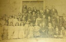 Vintage Old 1890's Cabinet Photo One Room School House Fresno County Girls Boys