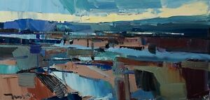 JOSE TRUJILLO Oil Painting IMPRESSIONISM LANDSCAPE CREEK MODERN SKY SIGNED COA