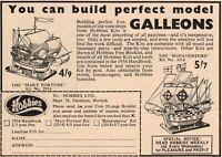 Vintage Hobbies Mary Fortune and Bonaventure Galleon Kit Advert - Original 1953