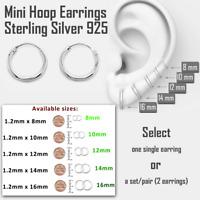 Small Hoop Earrings Sterling Silver 925 Bestseller Jewelry 10mm x 6 pairs Set
