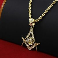 """Mens 14k Gold Plated Hip-Hop Free Masonic Pendant 30"""" Rope Chain Necklace D680"""