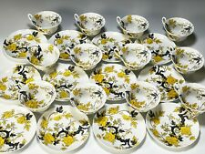 Set 12 Rare Shelley Fine Bone China Yellow Chippendale Footed Cups and Saucers