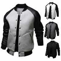 Men's Casual Bomber baseball Jackets PU Leather Patch Sleeve slim outwear Coats