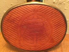 Vintage el CiD Brass & Leather Belt Buckle ~ Unique Artistic Design