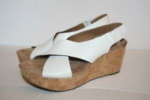 Clarks Artisan Cork Wedge Sandals Caslynn Shae White Size 11 EUC