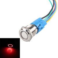 16mm 12V KFZ Schalter Drucktaster Taster Druckschalter LED Beleuchtet Rot AT