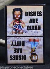 """Michonne & Walker Clean/Dirty Dishwasher Magnet 2""""x3"""". The Walking Dead Funko"""