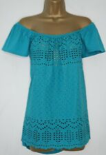 NEXT TEAL BRODERIE ANGLAISE COTTON BARDOT TOP SIZE 16 OFF THE SHOULDER BLOUSE