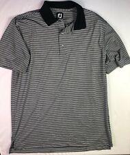 FOOTJOY Men's Golf Polo Shirt Black White Striped Size Large FJ