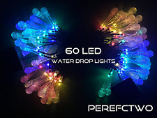 2 Pack Solar Strings 20ft 30 LED Water Drop Solar Fairy Lights Rain Drop USA
