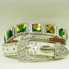 Genuine White Leather Swarovski Crystal RhInestone color Concho Belt L