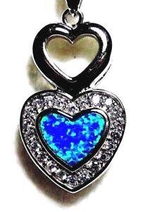 "Silver 925 SF Pendant Blue Lab Fire Opal & White Topaz DOUBLE HEART 1"""