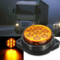 Yellow 7 LED Round Side Marker Indicator Light Clearance Car Truck Trailer