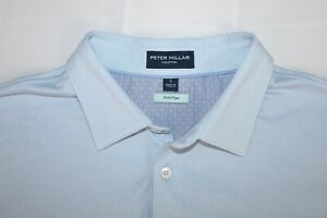 PETER MILLAR Men's L Polo Shirt Light Blue PERFECT PIQUE Golf Active